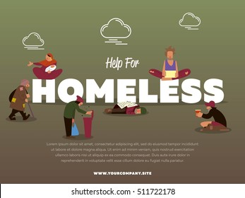 Charity banner. Help for homeless motivation lettering. Vector hungry beggar, poor pauper man, bum in dirty clothes, gypsy with child character illustration. Humanity and charity poster