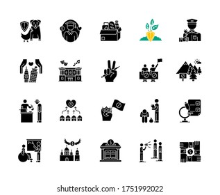 Charity black glyph icons set on white space. Food donation. Volunteering for public work. Support for poor people. Environment preservation. Silhouette symbols. Vector isolated illustration