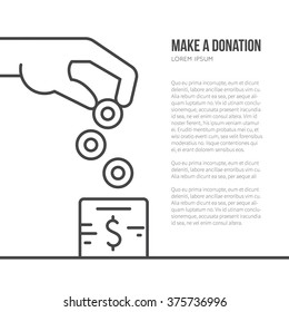 Charity box and helping hand - fundraising or donation concept with place for your text. Simple and modern vector line style illustration.