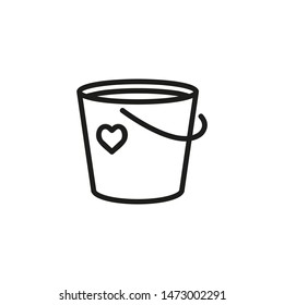 Charity bucket line icon. Heart, contribution, donation. Collecting money concept. Can be used for topics like philanthropy, volunteering, fundraising