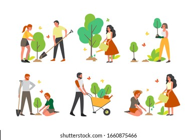 Charity community plant a tree set. Idea of care and humanity, nature and ecology concept. Volunteer help people idea.Vector illustration in cartoon style