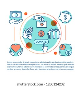 Charity concept illustration. Sponsorship. Fundraising and donation. Charitable foundation. Article, brochure, magazine page. Thin line icons with text boxes. Print design. Vector outline drawing