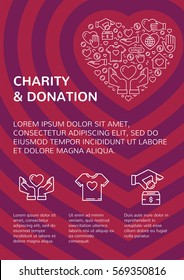 Charity and donation banner design template with vector graphic flat icon elements set in heart form.Card flyer poster illustration with your text for volunteer center, fundraising event, organization