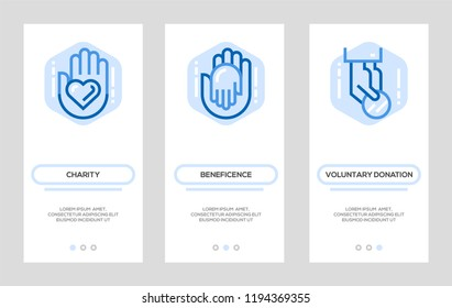 Charity and Donation Banners. Giving Help, Donating Money Vector Vertical Cards. Concept For Web Graphics.