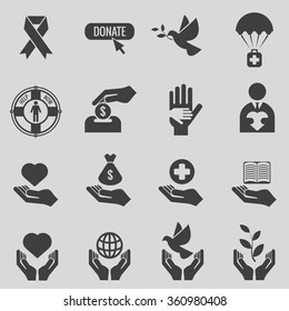 Charity and donation black icons set. Care and heart, love and donate hand, humanitarian support, vector illustration