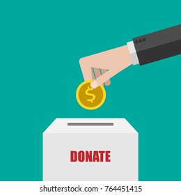 Charity, donation concept. Donate money with box  Business, finance. eps10 Vector illustration. Flat style.