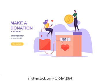 Charity and donation concept. Flat tiny voluntary charity persons illustration. Blood Donor and donation vector illustration in flat cartoon design.