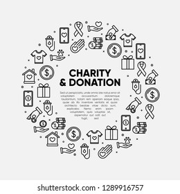 Charity and donation design element. Friendship, Generous, volunteer center, fundraising event, organization with text place. Vector outline icon