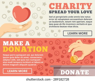Charity, donation flat illustration concepts set. Flat design concepts for web banners, web sites, printed materials, infographics. Creative vector illustration