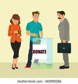 Charity donation funding corporate social responsibility. Group of donors put money transparent box. vector illustration.