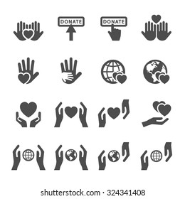 charity and donation icon set 4, vector eps10.