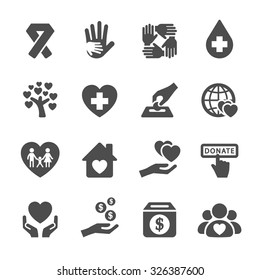 charity and donation icon set 5, vector eps10.