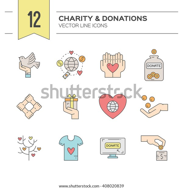 Charity Donation Icons Made Modern Line Stock Vector