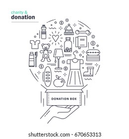 Charity and donation. Modern thin line design with the donation box and different things: clothes, footwear, food, water, toys, medicines. Vector illustration on white background.