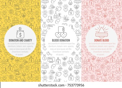 Charity, donation money and blood icon on seamless pattern background. Set of Banners from thin line icons related to nonprofit and charity organizations. Vector illustration.