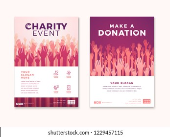 Charity and donation poster design templates. Card flyer poster with your text for volunteer center, fundraising event, organization. Vector illustration.