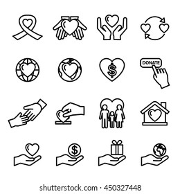 charity and donation silhouette icons - Line Style stock vector.