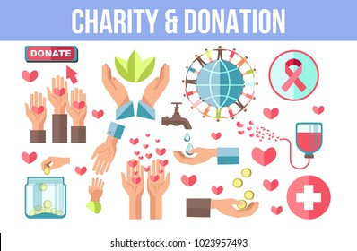 Charity and donation themed isolated minimalistic icons set
