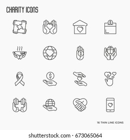 Charity and donation thin line icons set. Element for logo of nonprofit organizations, fundraising, crowdfunding and charity project. Vector illustration.