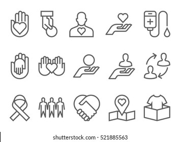 Charity, donation and volunteer work concept icons, thin line style, flat design. giving help, donating money, clothing, food, medicines.