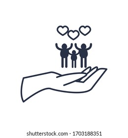charity donations concept, hand with pictogram family with hearts icon over white background, line style, vector illustration