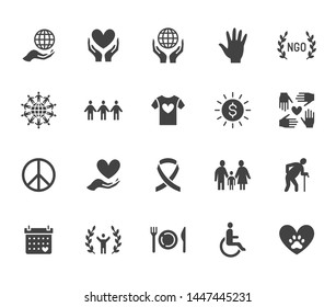 Charity flat glyph icons set. Donation, nonprofit organization, NGO, giving help vector illustrations. Signs for donating money, volunteer community. Solid silhouette.