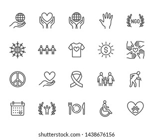 Charity flat line icons set. Donation, nonprofit organization, NGO, giving help vector illustrations. Outline signs for donating money, volunteer community. Editable Strokes.