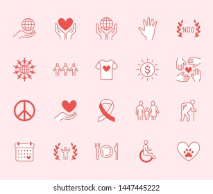 Charity flat line icons set. Donation, nonprofit organization, NGO, giving help vector illustrations. Outline signs pink red color for donating money, volunteer community.