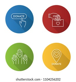 Charity flat linear long shadow icons set. Donation box, unity in diversity, charity organiazation location, donate click button. Vector outline illustration