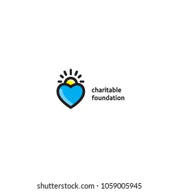 Charity Foundation logo template. The Foundation of goodness and hope logo. Mercy and love protection Fund