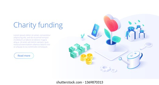 Charity fund or care in isometric vector concept. Volunteer community or donation metaphor illustration. Web banner layout for people help or support,
