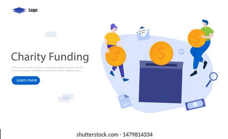 Charity Funding Vector Illustration Concept, Suitable for web landing page, ui, mobile app, editorial design, flyer, banner, and other related occasion
