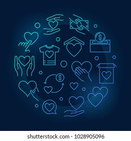 Charity and fundraising vector blue round concept illustration in outline style on dark background