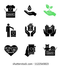 Charity glyph icons set. Silhouette symbols. Blood, toys, clothes, food donation, greening, fundraising, shelter for homeless, animals welfare, smartphone donation app. Vector isolated illustration