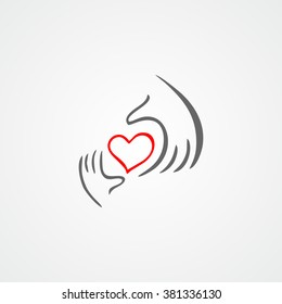 Charity, health, voluntary, caring hand logo. Heart in hand flat vector icon.