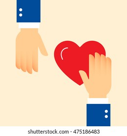 Charity helping hands with red heart. Share love illustration.Clean and simple graphic flat vector concept. Color symbol icon template for donation organization, volunteer center and fundraising event
