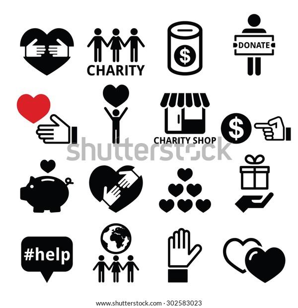 Wohltatigkeit Anderen Menschen Zu Helfen Ikonen Stock Vektorgrafik Lizenzfrei 302583023