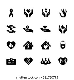 Charity icon. Donation icon. Donate icons. Silhouette. Illustration. Vector. EPS10
