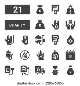charity icon set. Collection of 21 filled charity icons included Money bag, Charity, Donation, Blood transfusion, Blood donation, Cancer, Voluntary, Ngo, Hemoglobin