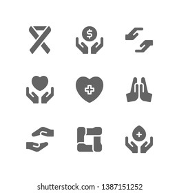 Charity icon set including awareness ribbon, donation, help, support, compassion, healing, praying, volunteer, unity, solidarity, blood donor