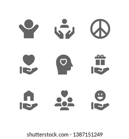 Charity icon set including volunteer, support hand, peace, kindness, give, love, donation, gift, shelter, people, community, happiness