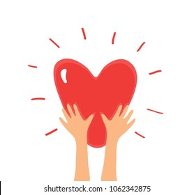 Charity icon. Shiny Heart in Hands. . Colorful hand drawn Red Heart shape. Symbol of Love, Peace, Frendship, Kindness, Ecology. Vector illustration
