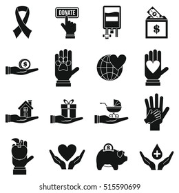 Charity icons set. Flat illustration of 16 charity vector icons for web