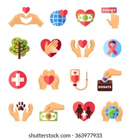 Charity icons set with volunteering symbols flat isolated vector illustration