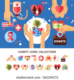 Charity infographic set with donations care and love symbols flat vector illustration