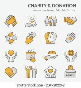 Charity line icon set. Collection of donate, trust, help, solidarity and more. Editable stroke. Change to any any colour.