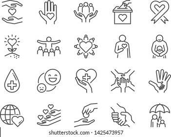 Charity line icon set. Included icons as kind, care, help, share, good, support and more.