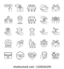 Charity linear icons set. Thin line contour symbols. Donation. Fundraising, helping hands, volunteering, humanitarian aid. Isolated vector outline illustrations. Editable stroke