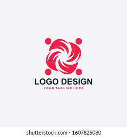 Charity logo design. Humanity abstract symbol. People care vector icons.