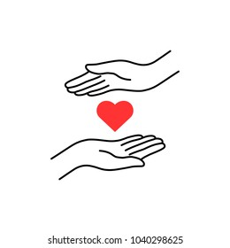 charity logo with thin line hand and heart. linear flat trend modern simple compassion logotype graphic art design isolated on white. concept of donor woman or man arms and crowdfunding for poverty